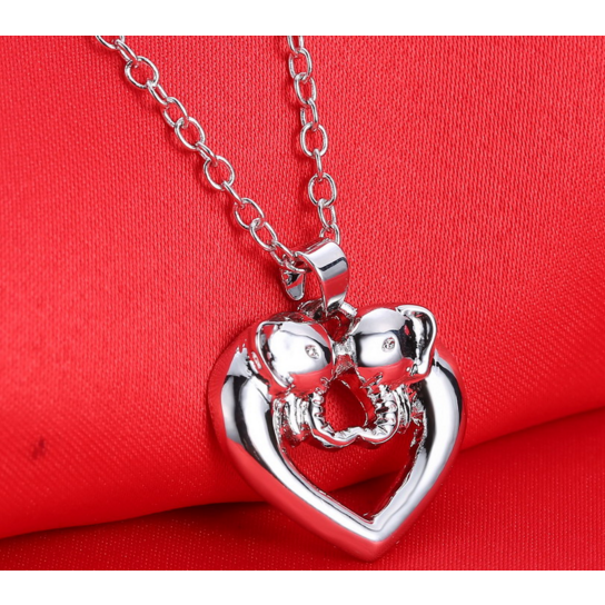 Simple Silver Plated Crystal Double Elephant Design Pendant - Victoria Vault