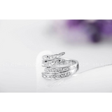 Alluring Austrian Crystal Zircon Stainless Steel Wings Wedding Engagement Ring - Victoria Vault