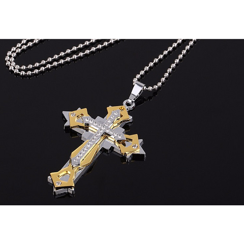 Triple Layer Crystal Cross Pendant / Necklace - Victoria Vault