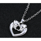Only $1 Simple Silver Plated Crystal  Double Two Elephant Design Pendant - Victoria Vault