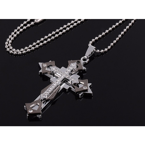 Triple Layer Crystal Cross Pendant / Necklace