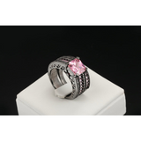Absolutely divine 18K Black Gold Plated Pink Square crystal Luxury Fashion  Set CZ Diamond - Victoria Vault
