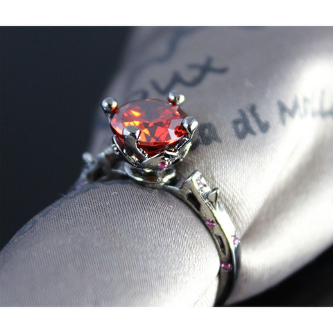 """Black Satin"" Red Sapphire Solitaire Ring - Victoria Vault"