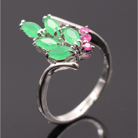 Green Emerald / Pink Ruby Silver Ring - Victoria Vault