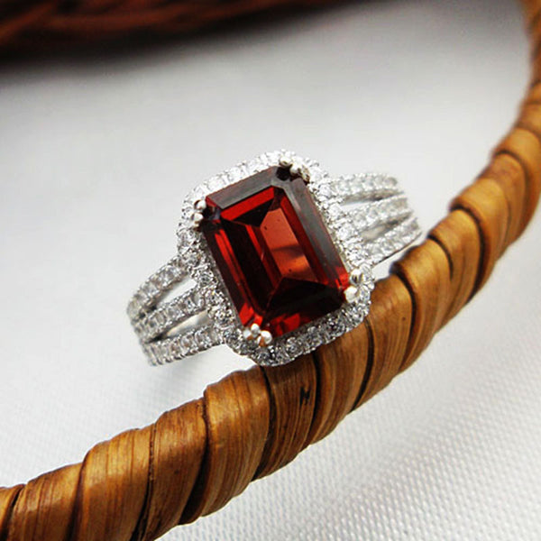 Genuine red garnet  real 925 silver ring