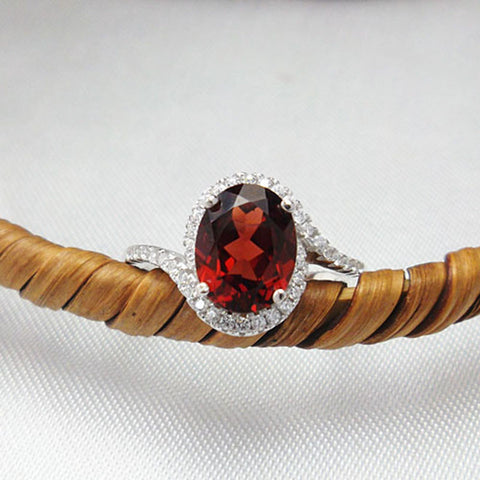 Classic natural garnet  ring solid 925 silver