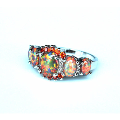 Dazzling Rainbow Fire Opal Ring