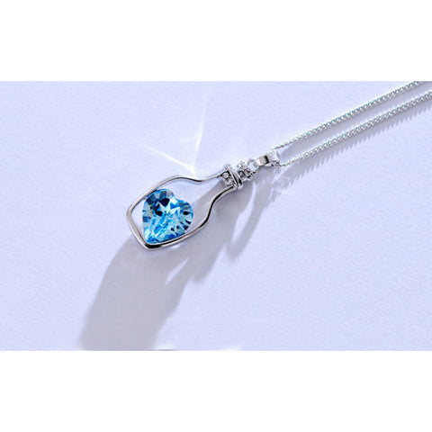 Bottled Blue Heart Crystal Pendant / Necklace