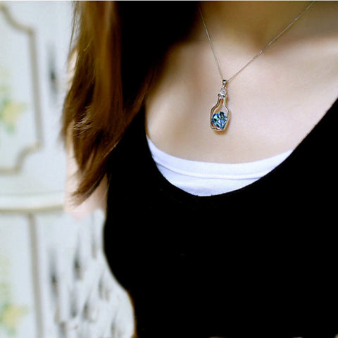 Bottled Blue Heart Crystal Pendant / Necklace - Victoria Vault