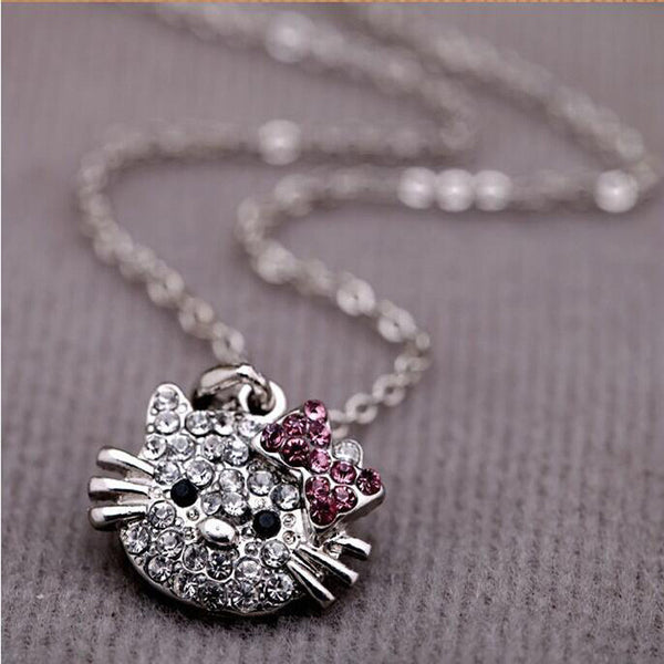 Rhinestone Charm Hello Kitty Cat Pendant With Necklace Free + Shipping