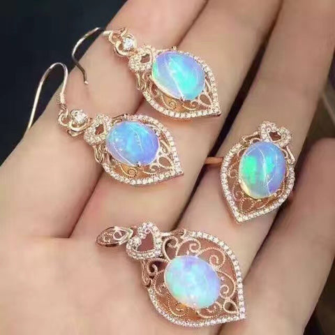 Ornate Vintage Natural Opal Jewelry Sets Solid Sterling Silver Rose Gold  (Certified)