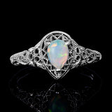 Ornate Vintage 2.2ct Opal  925 Sterling Silver Platinum Plated Ring