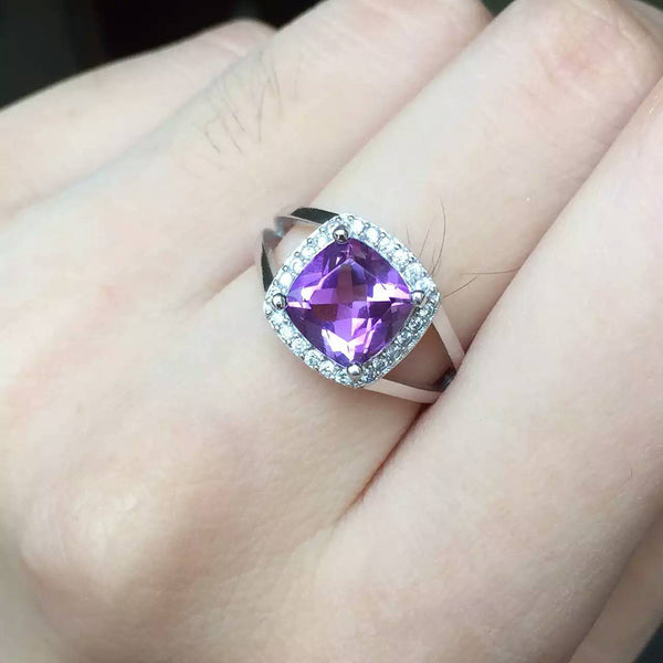 Dual Shank emerald cut natural amethyst pure 925 silver Platinum Plated ring