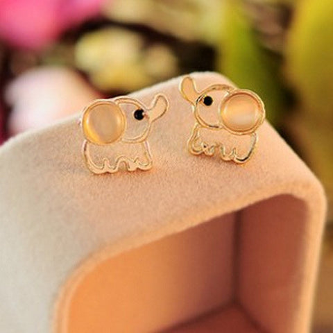 Cute Baby Elephant Opal Stud Earrings - Victoria Vault