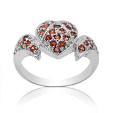Luxurious  ornate natural garnet stone ring solid 925 silver