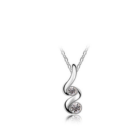 Austrian Crystal Twist Drop Necklace / Pendant