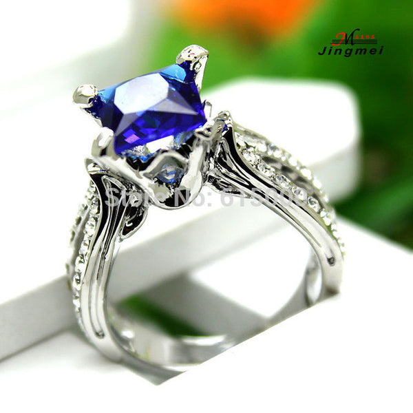 Blue Sapphire Crystal Anniversary Ring - Victoria Vault
