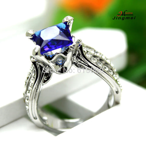 Blue Sapphire Crystal Anniversary Ring