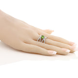 2.26 Ct Oval Genuine Green Peridot Jewelry Solid  925 Sterling Silver Ring