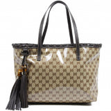 Gucci GG tote Coated Canvas Bamboo bag 354665 520981
