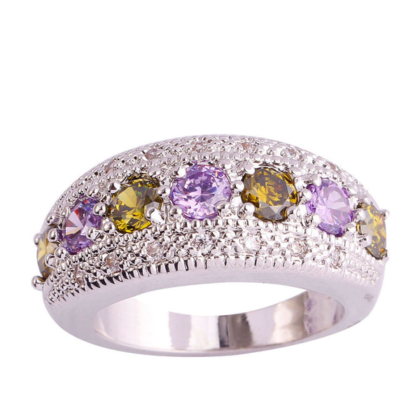 Peridot / Amethyst / White Topaz Silver Ring - Victoria Vault