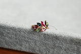 Leaf Motif multicolored genuine tourmaline 925 sterling silver platinum plated ring