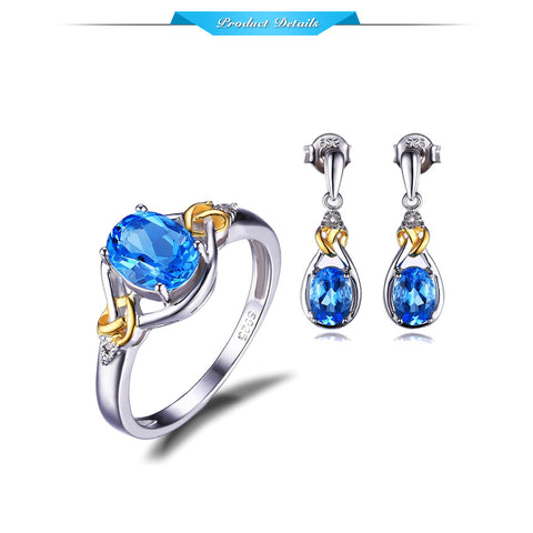 18Kt Gold Knots Genuine Sky Blue Topaz 925 Sterling Silver  Rhodium Plated Jewelry Set