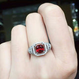 Stylish Emerald cut natural garnet pure 925 sterling