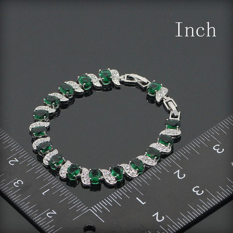 Green Emerald / White Topaz Chain Bracelet