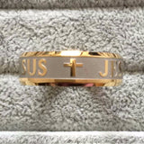 High quality 8mm 316 Titanium Steel 18K silver gold plated Jesus Cross wedding band ring men women - Victoria Vault