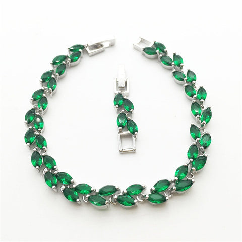 Tear Drop Green Emerald White Topaz Womens Link Chain Bracelet