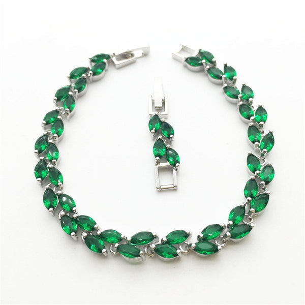 Horse Eye Green Emerald White Topaz Women Link Chain Bracelets Sterling Silver Jewelry Plant Shaped Free shipping - Victoria Vault