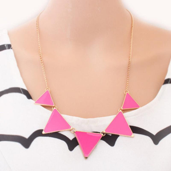 Hot Black Geometrical Triangle Necklace - Victoria Vault
