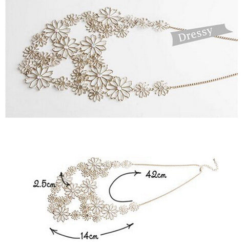 Rhinestone Multi Layer Gold Flowers Necklace - Victoria Vault