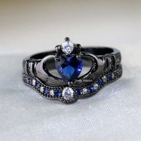 Irish Claddagh Ring 10KT Black Gold Filled 1CT Heart Sapphire Set