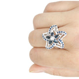 (Star Child) Natural Deep Dark Blue Sapphire Ring