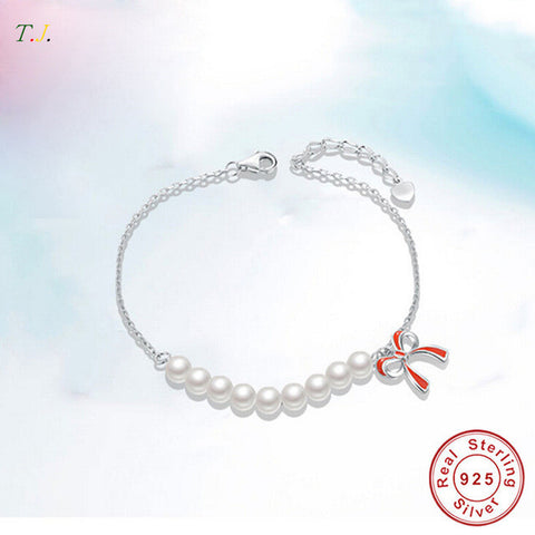 Natural Freshwater Pearls 100% Sterling Silver 925 Jewelry Bracelets for Women Bow-Knot Top Quality  Fine Jewelry  T.J. BSW302 - Victoria Vault