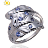 Natural Tanzanite Gemstone Solid 925 Sterling Silver Leaf Ring For Womens Fine Jewelry Party - Victoria Vault