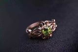 Natural Green Peridot 925 Sterling Silver Ring