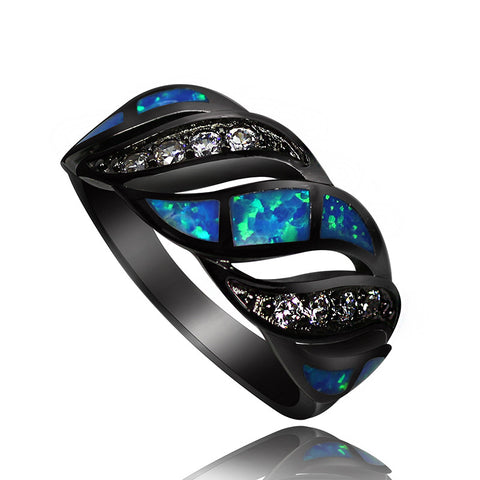 Awesome Bold Black Gold Clustered with Blue Fire Opal and White Sapphire - Victoria Vault