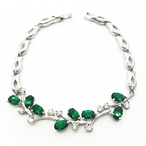 Leaf Vine Bracelet with Green Emerald / White Topaz - Victoria Vault