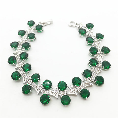 Tree Leaf design Green Garnet / Silver Bracelet