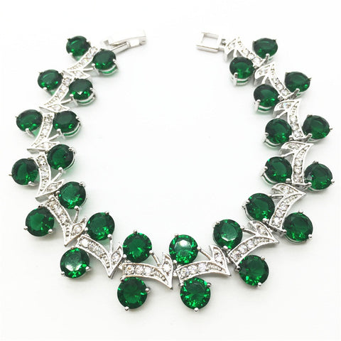 New Tree Leaf design  Sterling Silver Chain Bracelet Women Emerald Green Garnet - Victoria Vault
