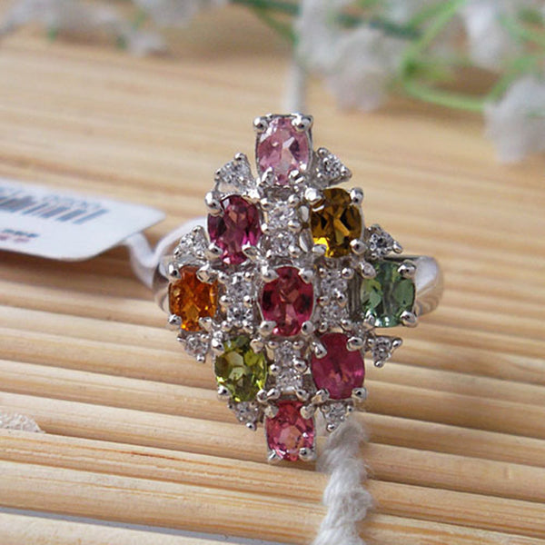 New fashion rhombus shape multicolor natural tourmaline ring 925 sterling silver real semi-precious stone ring women jewelry