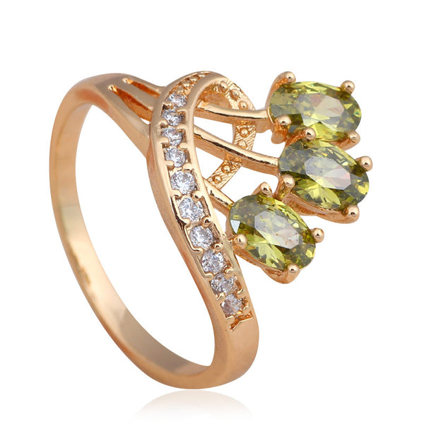 Peridot / White Crystal Gold Plated Ring - Victoria Vault