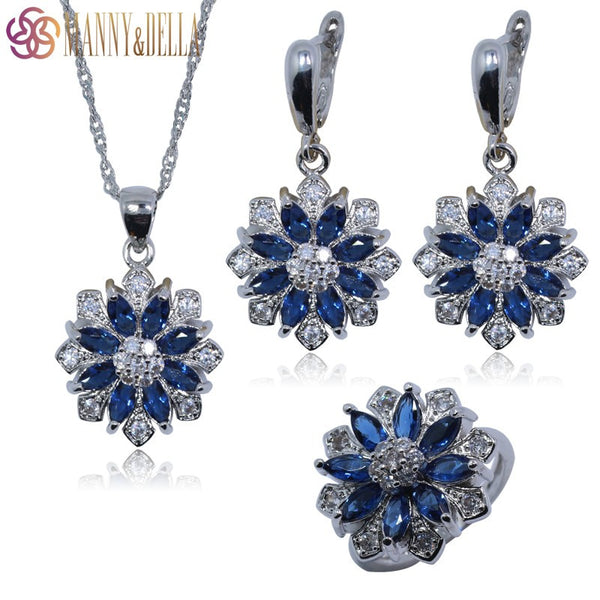 Occident 925 Sterling Silver Jewelry Set For Women Flower Blue Created Sapphire Earrings/Pendant/Necklace Chain/Ring TZ113