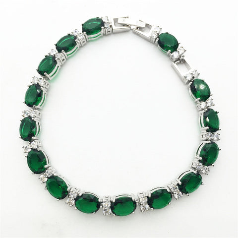Very Charming Hand Made Oval Emerald Green Sapphire White Topaz Bracelet