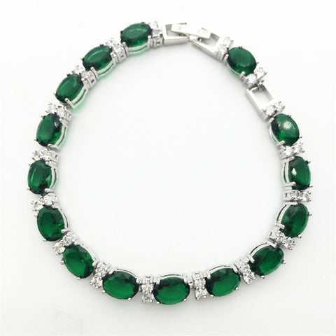 Hand Made Oval Emerald Green Sapphire Tanzanite White Topaz Jewelry For Women Charming Silver Bracelets - Victoria Vault
