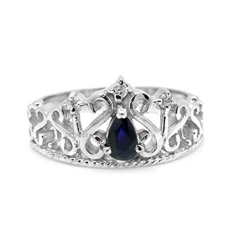 (Water of Life) Real Blue Sapphire Crown design ring