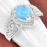 Blue Fire Opal Silver Plated Ring